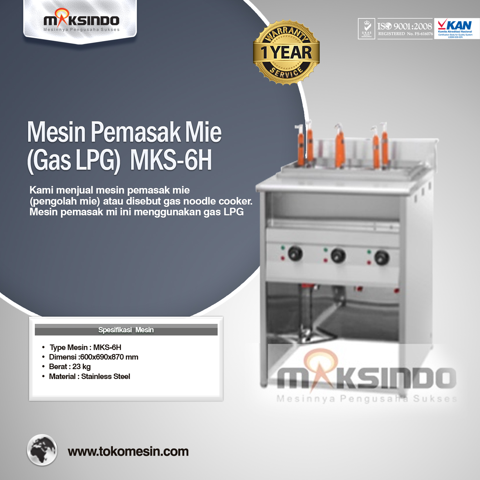 Mesin Pemasak Mie (Gas LPG) MKS-6 H