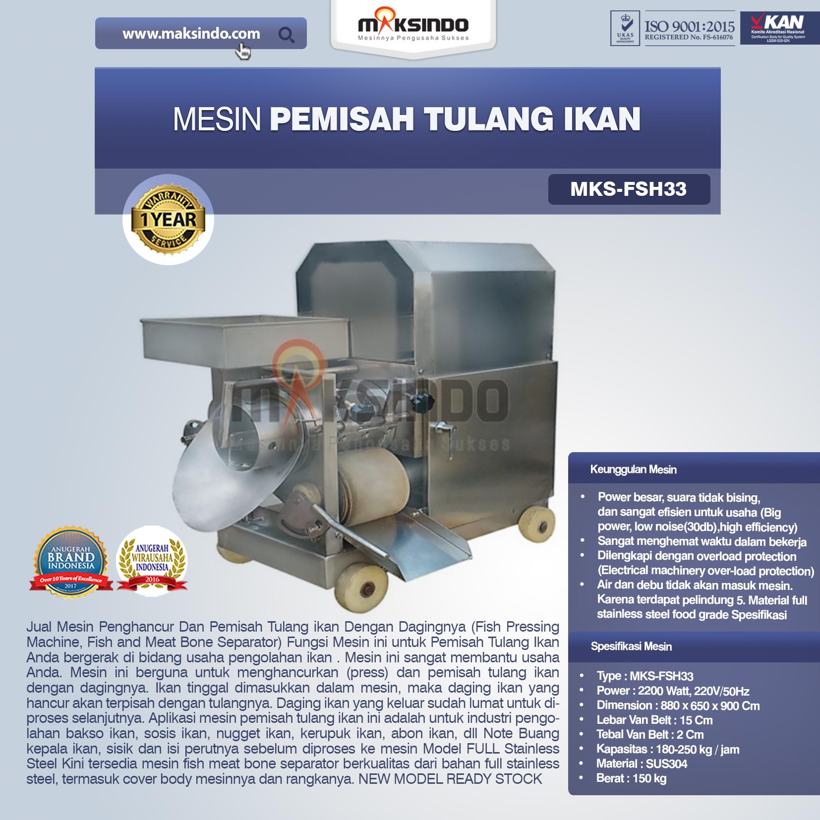 Jual Mesin Pemisah Tulang Ikan (FSH33) di Jakarta