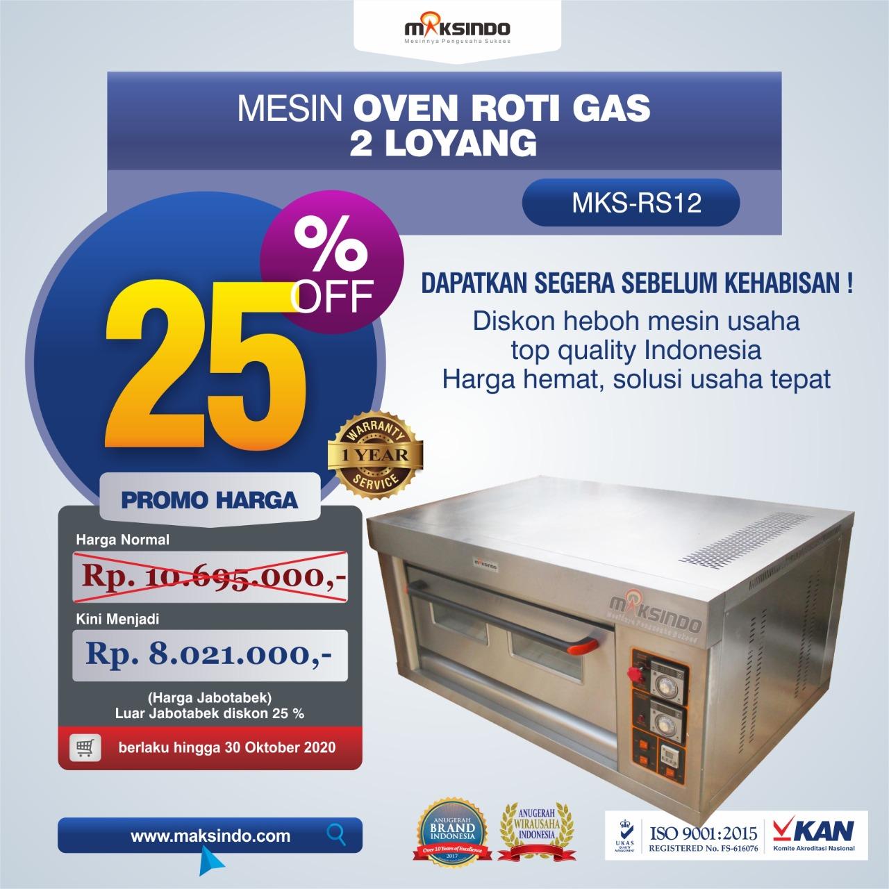 Jual Mesin Oven Roti Gas 2 Loyang (MKS-RS12) di Jakarta