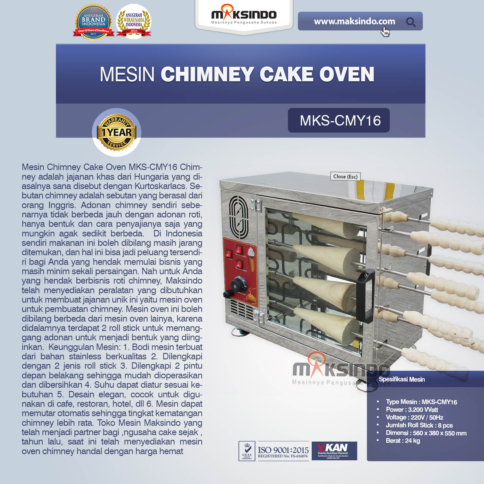 Jual Mesin Chimney Cake Oven MKS-CMY16 di Jakarta