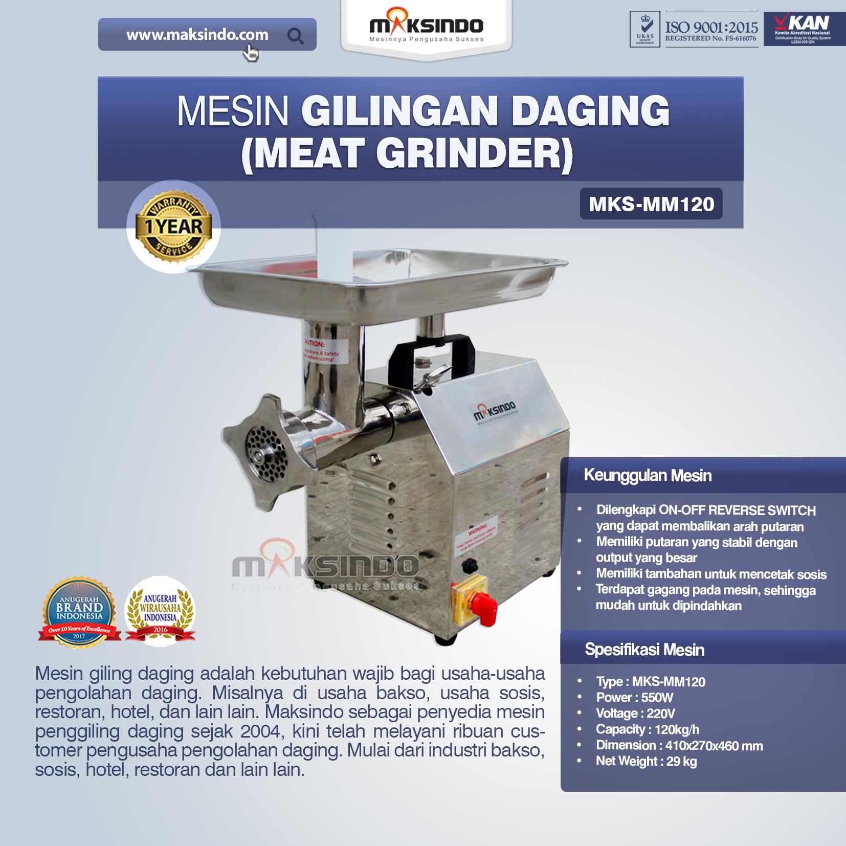 Jual Mesin Giling Daging (Meat Grinder) MKS-MM120 di Jakarta