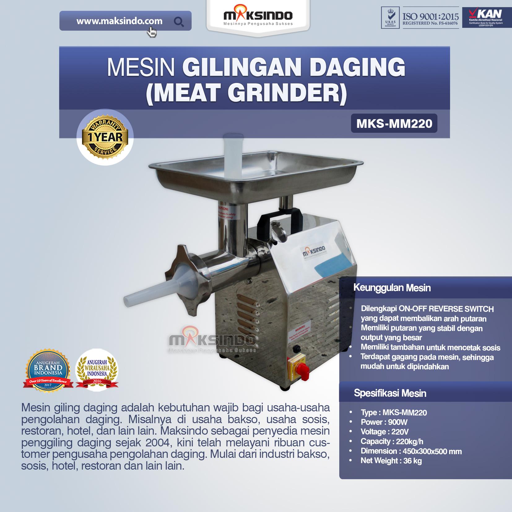 Jual Mesin Giling Daging (Meat Grinder) MKS-MM220 di Jakarta