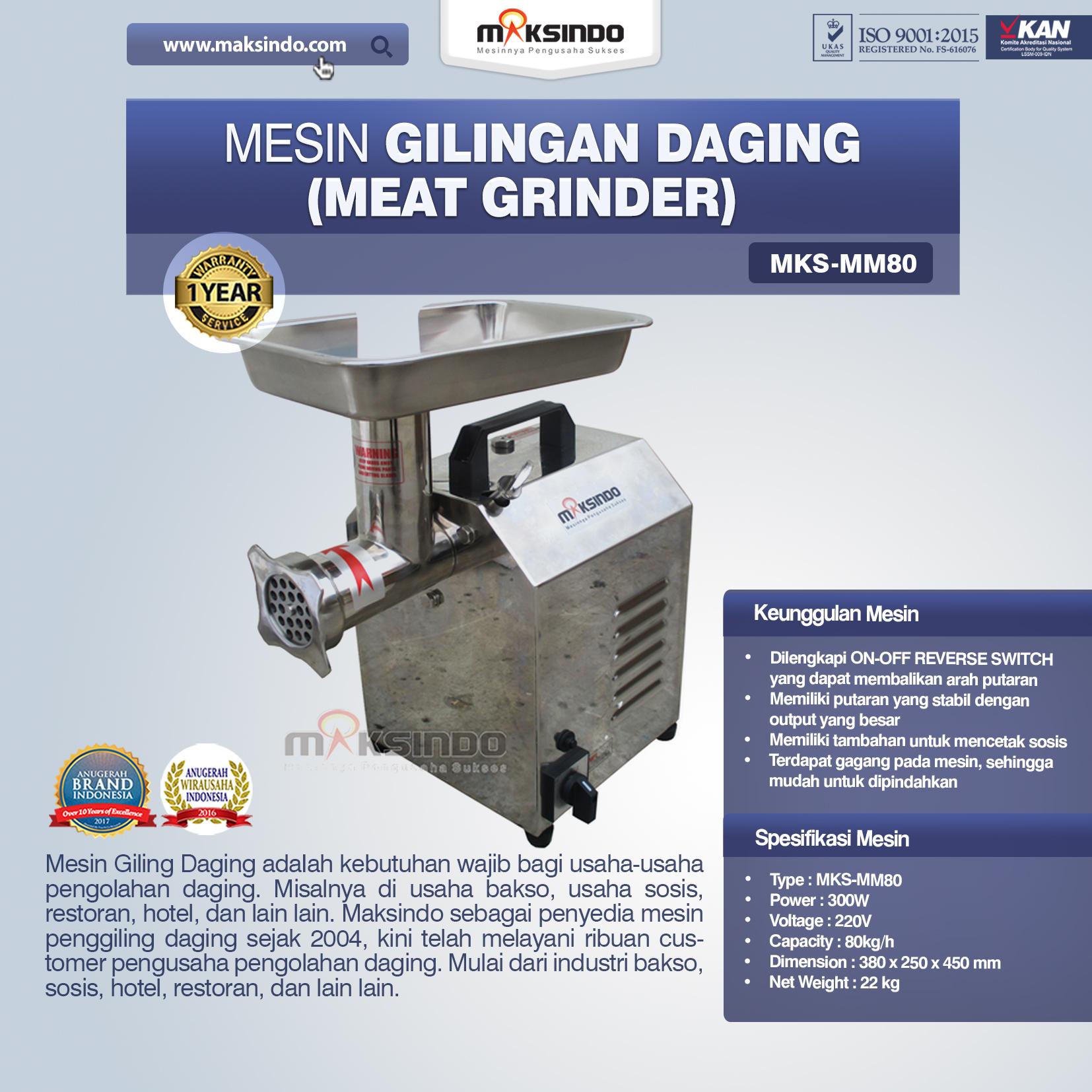 Jual Mesin Meat Grinder MKS-MM80 di Jakarta