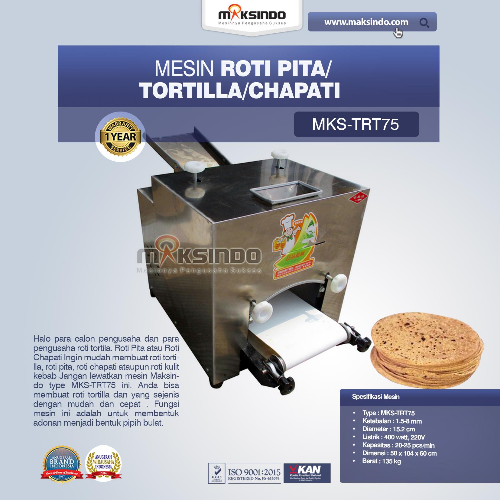 Jual Mesin Roti Pita/Tortilla/Chapati MKS-TRT75 di Jakarta