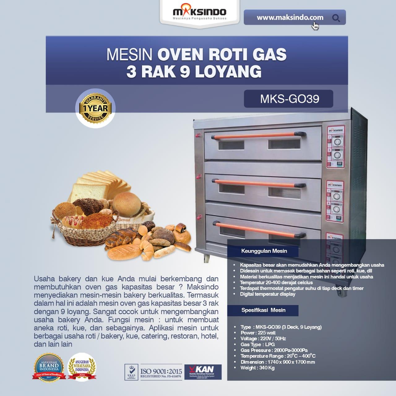 Jual Mesin Oven Roti Gas 3 Rak 9 Loyang (GO39) di Jakarta
