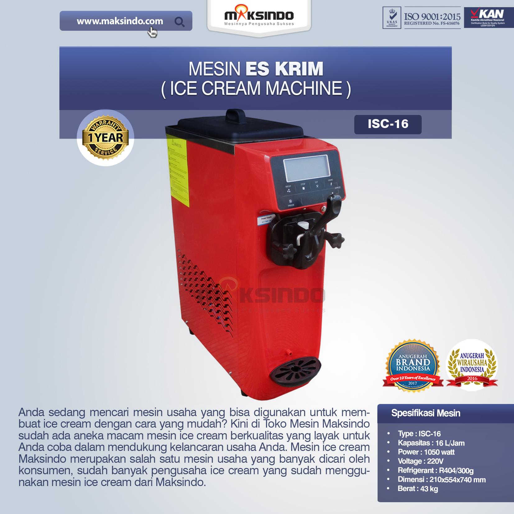 Jual Mesin Es Krim (Ice Cream Machine) ISC-16 di Jakarta
