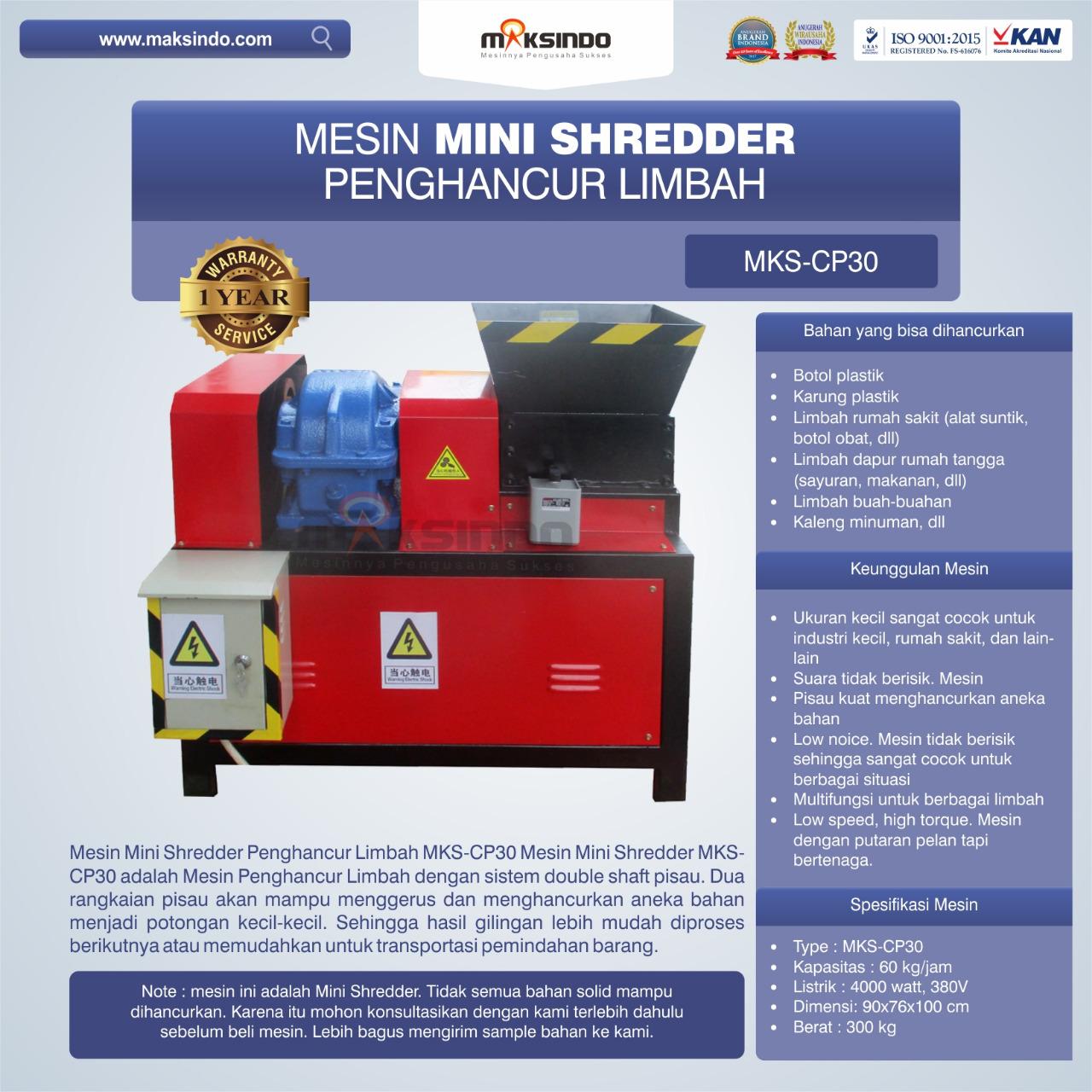 Jual Mesin Mini Shredder Penghancur Limbah MKS-CP30 di Jakarta