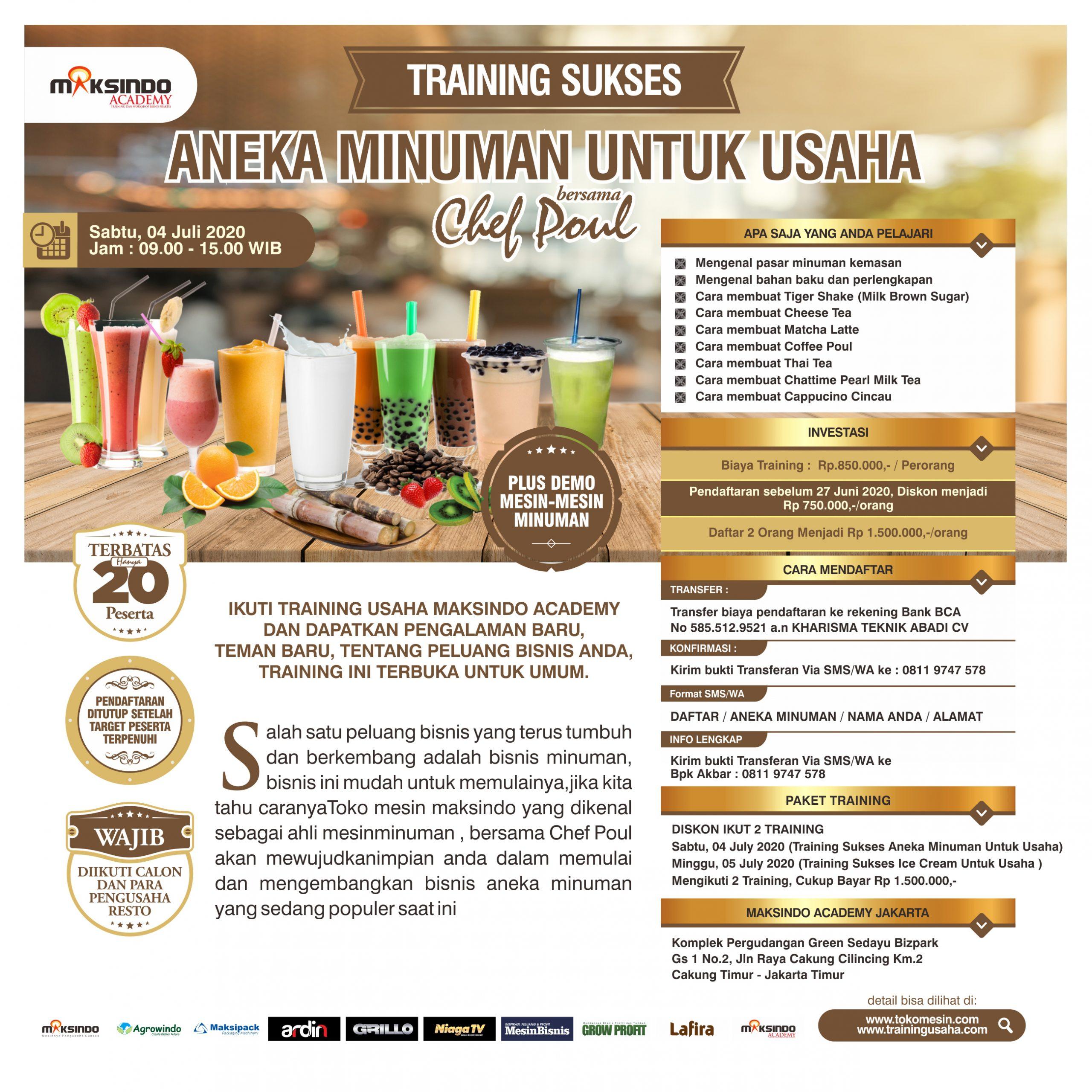 Training Sukses Aneka Minuman Untuk Usaha Sabtu, 04 July 2020