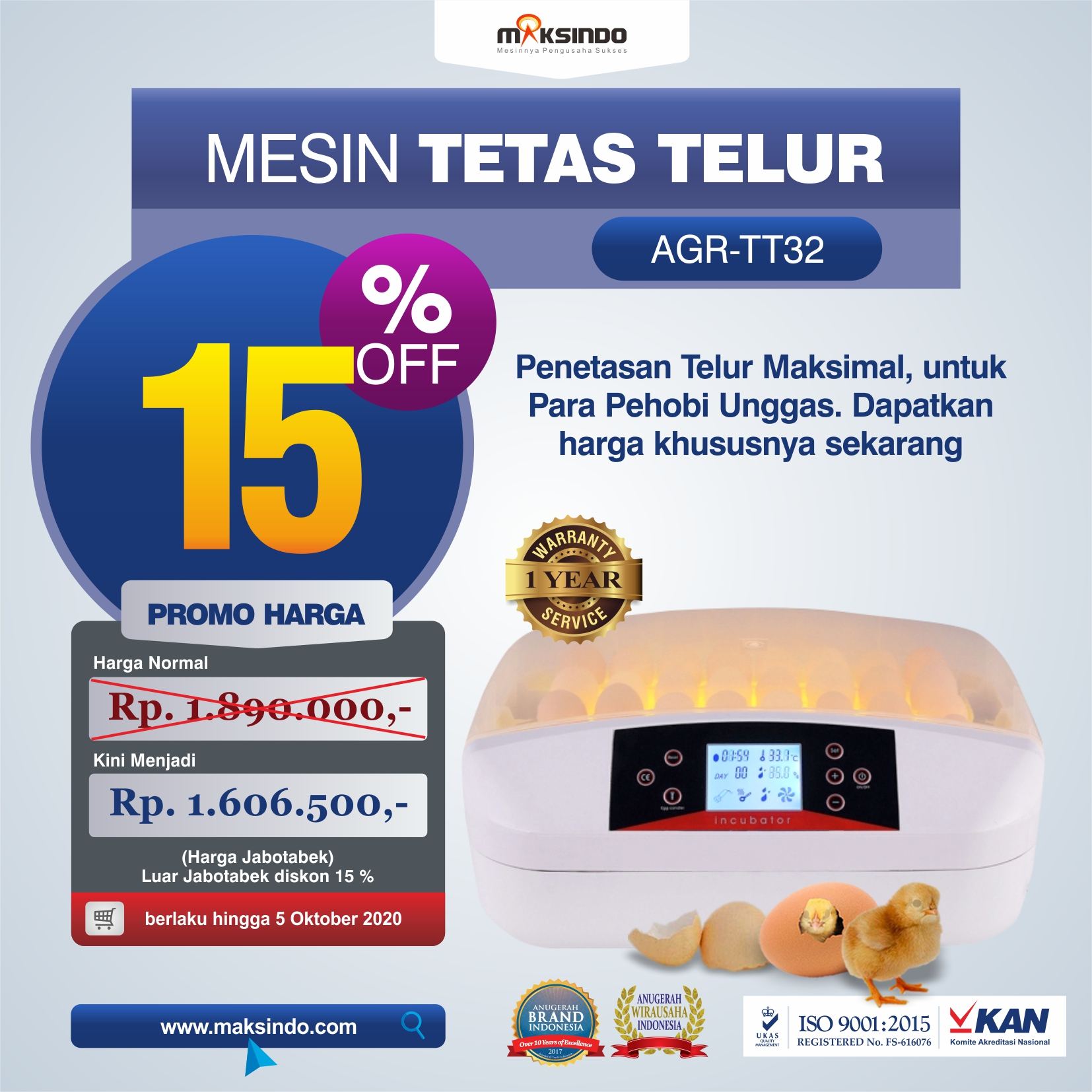 Jual Mesin Penetas Telur 32 Butir (AGR-TT32) di Jakarta