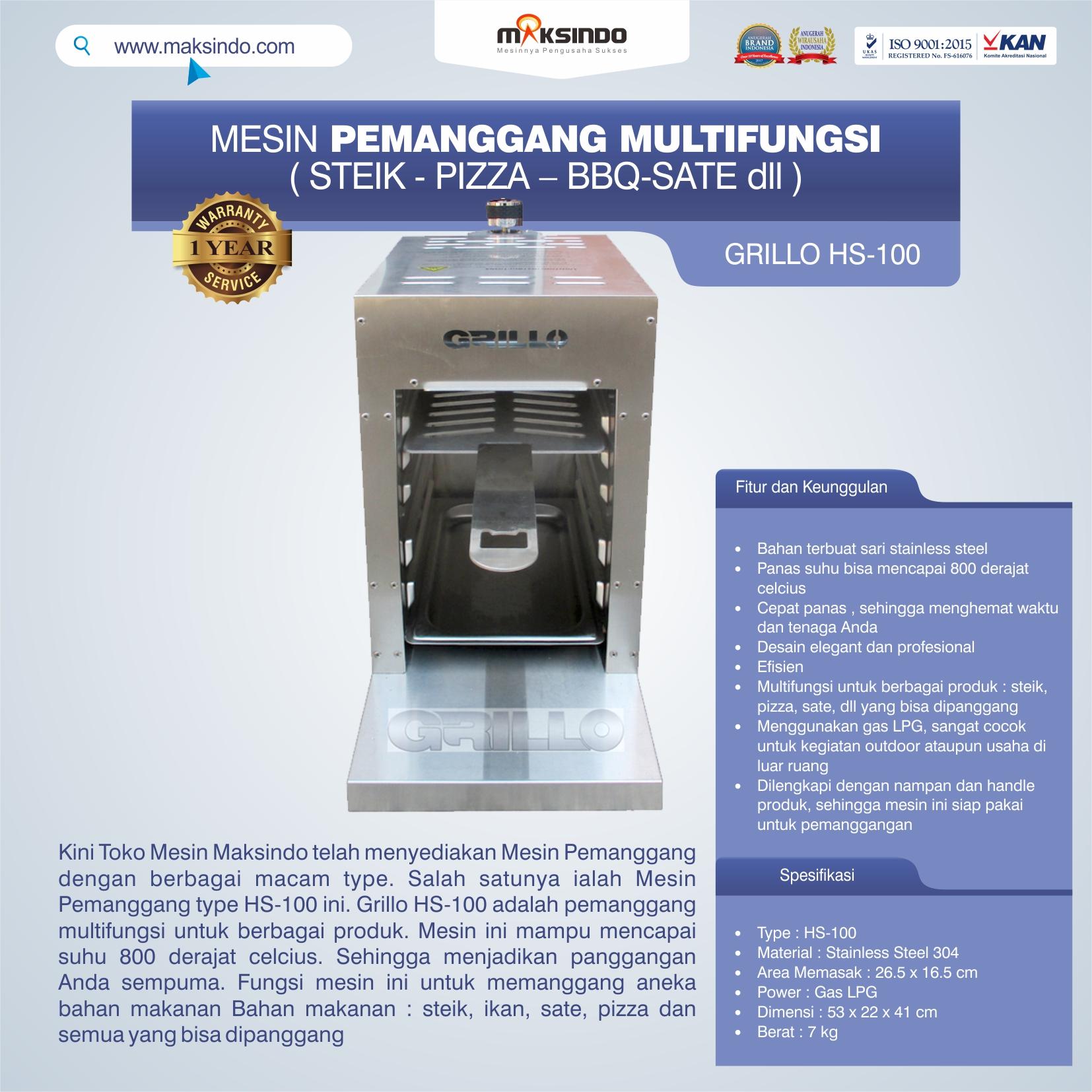 Jual Mesin Pemanggang Steik – Pizza (GRILLO  HS-100) di Jakarta