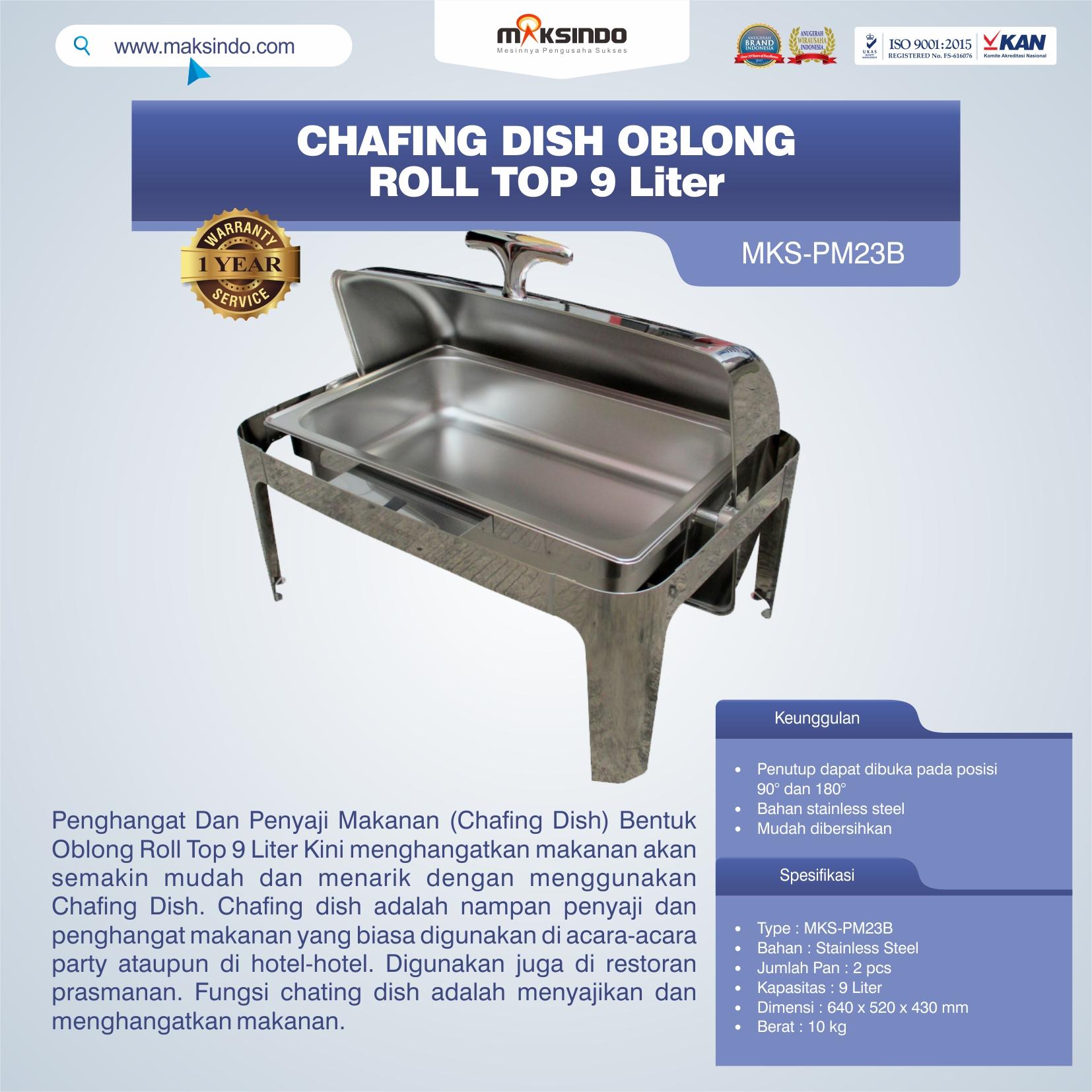 Jual Chafing Dish Oblong Roll Top – 9 Liter (MKS-PM23B) di Jakarta